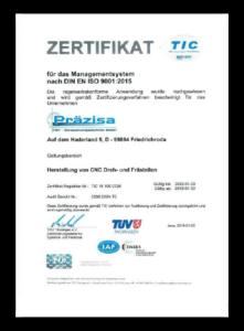TÜV-Zertifikat in deutsch, gültig bis 29. Januar 2022