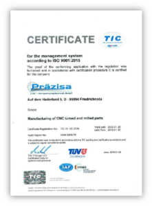 TÜV-Zertifikat in englisch, gültig bis 29. Januar 2022
